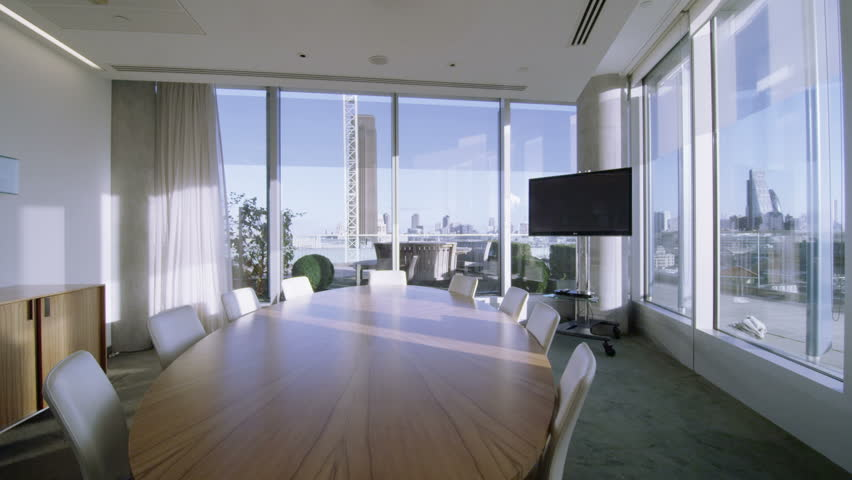 sunny day home office. 4k / Ultra HD Version Interior View Of Empty Meeting Room In A Modern London Office Sunny Day Home M