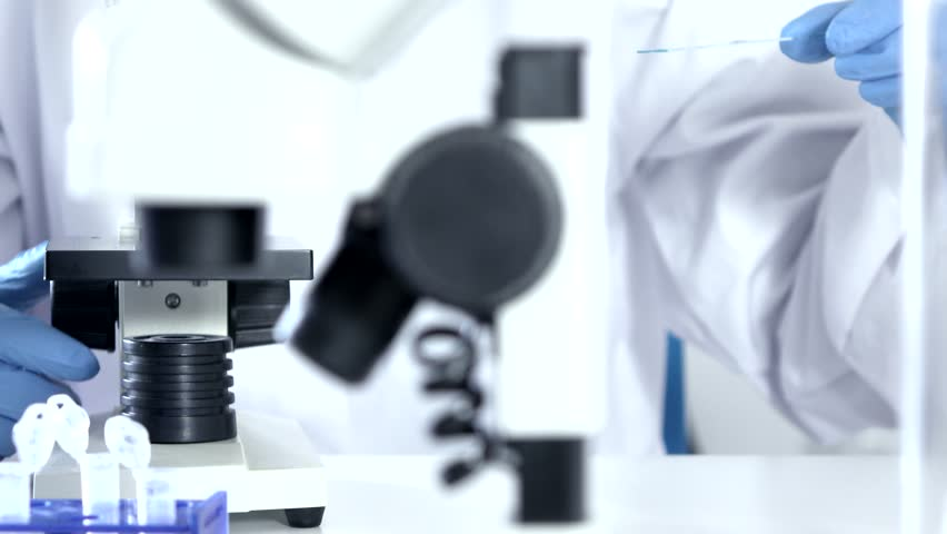 Researcher Working in Lab With Microscope.researcher in biochemical lab. #13955177