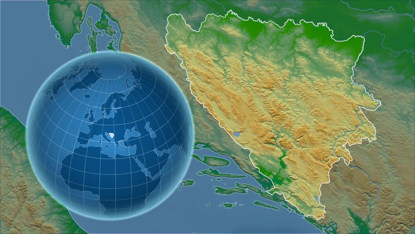 Croatia Shape Animated On The Physical Map Of The Globe Stock - Croatia physical map