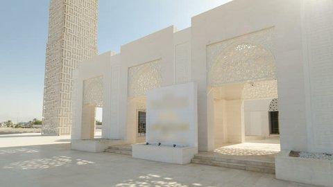 White mosque in Ajman timelapse hyperlapse, United Arab Emirates