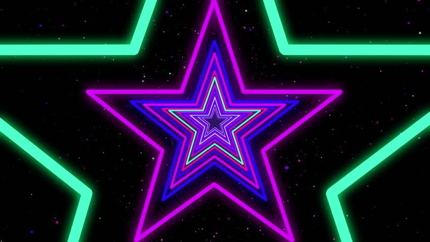 Star Neon Streaks Disco Led Laser Loop Background Energy