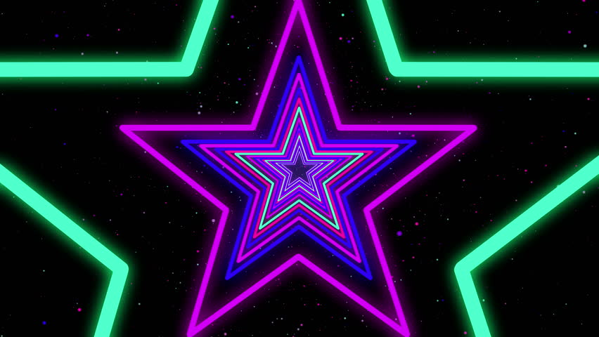 Star Neon Streaks Disco Led Laser Loop Background Energy