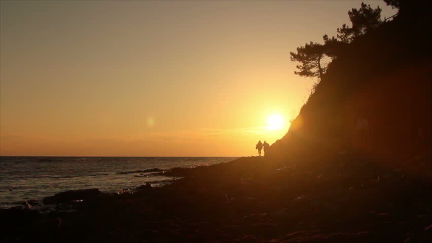 Silhouettes of people at sunset on the background of rocks near the sea coast | Shutterstock HD Video #14078177