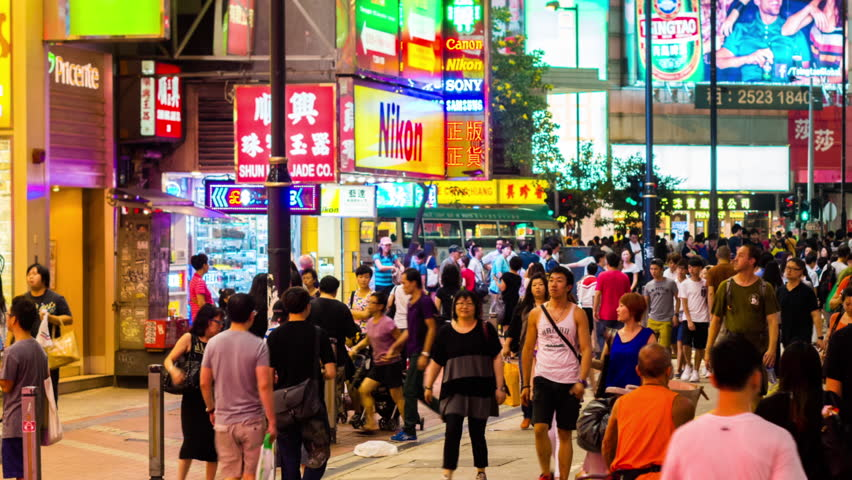 HONG KONG - 13 SEPT 2013: Timelapse view of people on the streets Hong Kong city at Causway Bay. Hong Kong is a major financial hub in the Asia region on 13 September 2013 in Hong Kong, China | Shutterstock HD Video #14084747