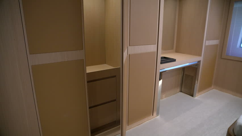 Wooden Closets In The Master Cabin Of A Luxury Yacht Stock Footage Video  14114177 | Shutterstock