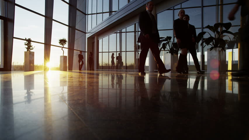 4k / Ultra HD version A diverse group of business people are making their way around a busy modern office building as the sun sets outside. Shot on RED Epic | Shutterstock HD Video #14126957