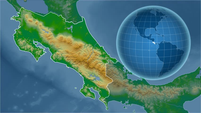 Costa Rica Shape Animated On The Physical Map Of The Globe Stock