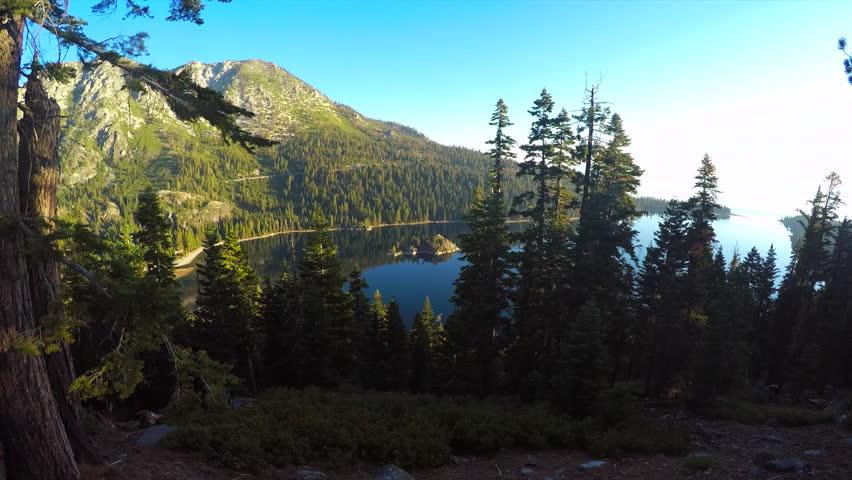 LAKE TAHOE, NEVADA - CIRCA 2015 - A beautiful aerial shot at dawn over Emerald Bay Lake Tahoe. | Shutterstock HD Video #14146349