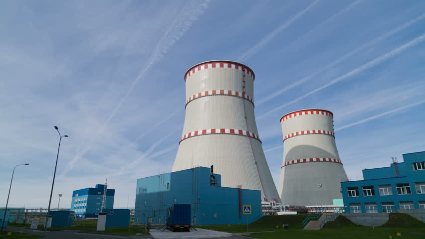 The Kalinin nuclear power plant. The tower. Timelapse 4k.