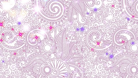 Particles - White, Lavender, Rose, Red Looping on Purple Paisley Color-Changing 3D motion looping background. Animated screensaver with sparkling glitter, sparks, and moving lights. Seamless loop.