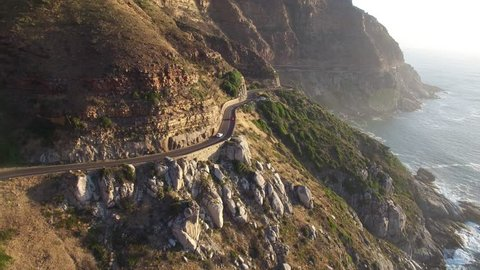 Cape Town Following Chapman's Peak Drive Road - 4K Drone Footage