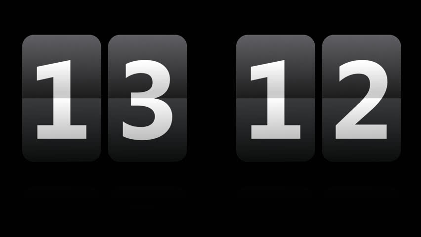 Two, fast and random flipping clock countdown. On transparent background. PNG with alpha channel.