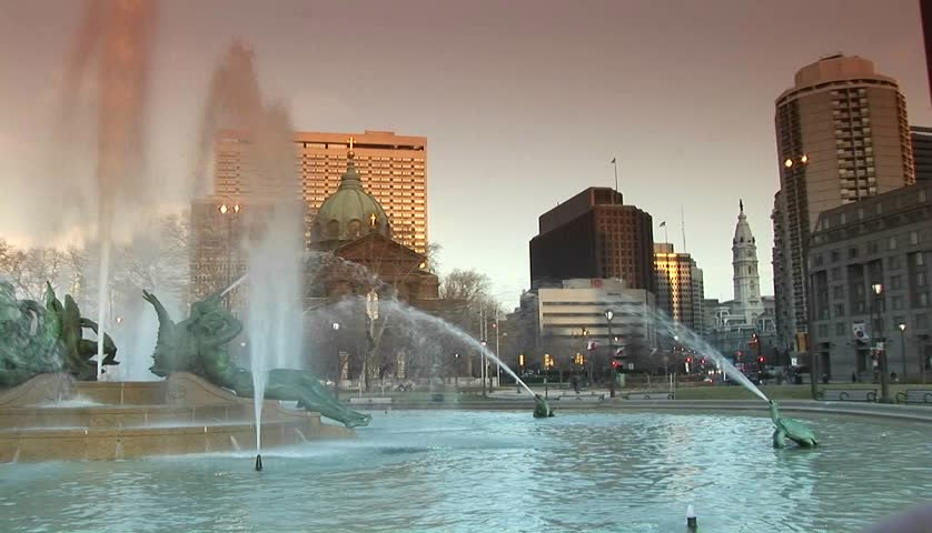 The downtown fountains of Philadelphia with city hall in background.