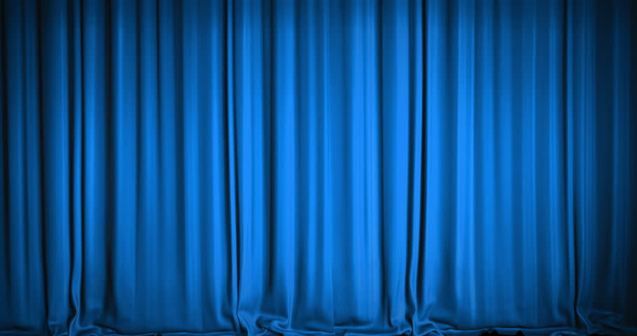 A blue velvet curtain opening in a movie theater. An alpha matte is included as well. High quality render in 4K format.
