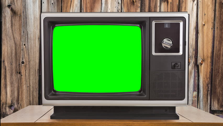 Vintage television with zoom into chroma green screen. | Shutterstock HD Video #14198057