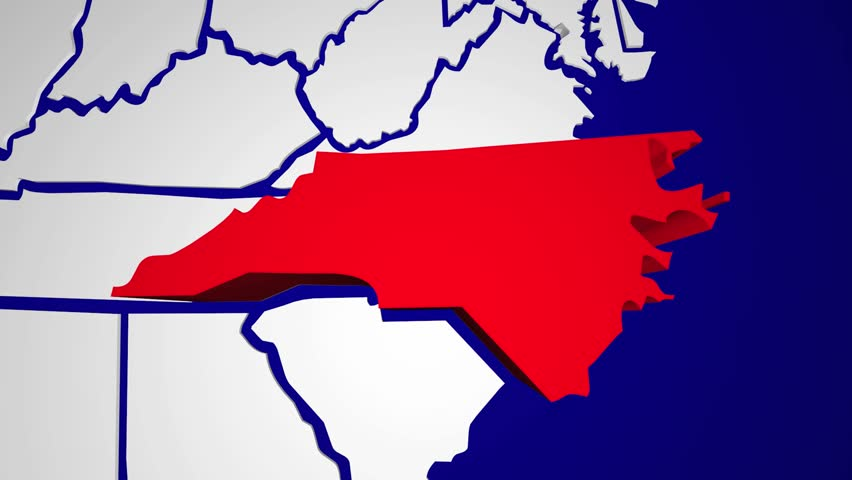 D Animation Of US Map Formed By Individual States Stock Footage - North carolina on a us map