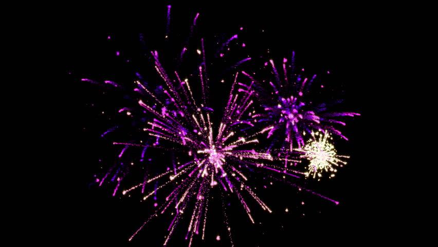 3 short fireworks with Alpha Matte (4k)