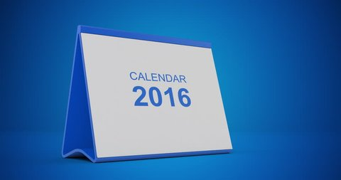 A monthly 2016 calendar sitting on a blue background. The calendar is red in colour. Pages start to flip from left bottom corner and fly away after tearing. High quality render in 4K resolution.