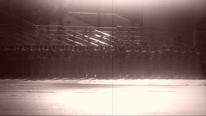 Archival shot of Marines formation
