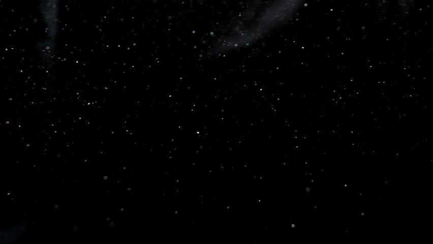 Dust Particles Flowing in Bright Light from Left to Right, Black Background