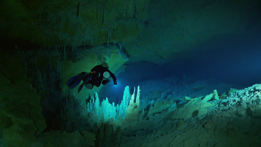 WS POV TS Scuba diver swimming in dark cave / Abaco Island, Bahamas | Shutterstock HD Video #14277607