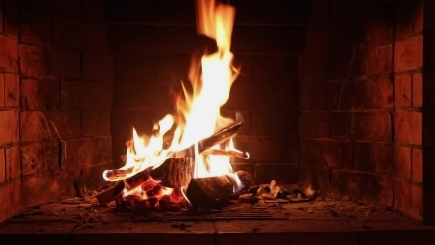 Burning Wood In The Fireplace, The Dying Embers In The Fireplace ...