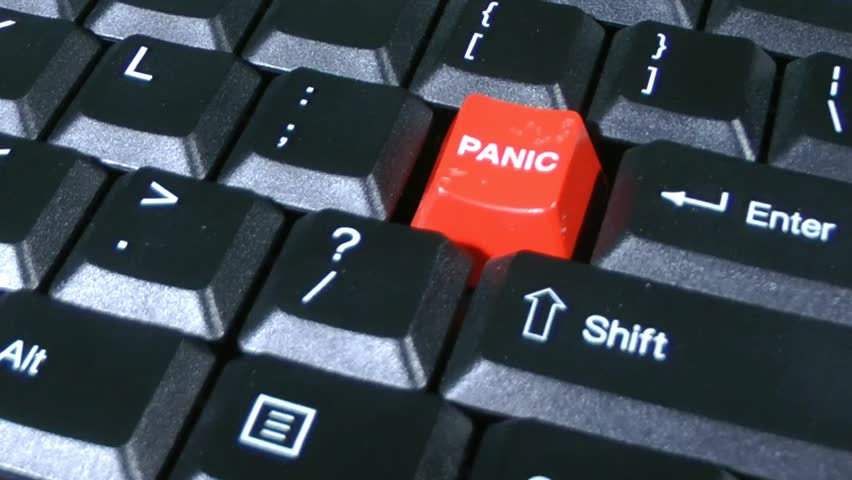 Panic Button On Keyboard Close Up Slow Rotate Stressed Business Man Or Woman Typing On Computer Hits The Panic Button On The Keyboard Progressive Scan