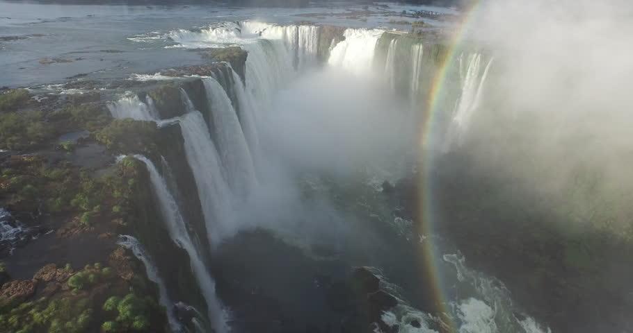 Jun,2015 - Misiones Province, Argentina/Parana State, Brazil: drone aerial shot of the Iguazu Falls which borders Misiones Province, Argentina/Parana State, Brazil | Shutterstock HD Video #14325550