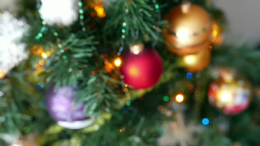 Colorful Twinkle Lights And Bokeh In Defocus; Christmas Tree Toys ...