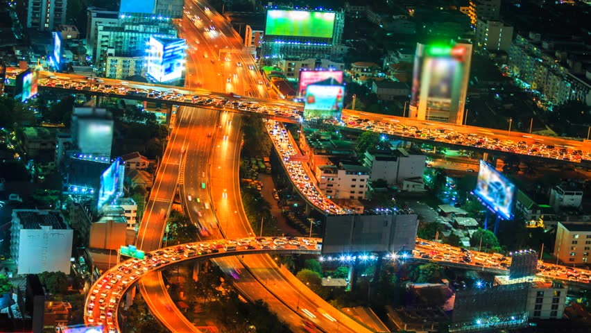 4K.Time lapse traffic in road at bangkok city landscape cityscape at Bangkok city asia Thailand. Footage Video Ultra HD, 4096 x 2304 | Shutterstock HD Video #14388457