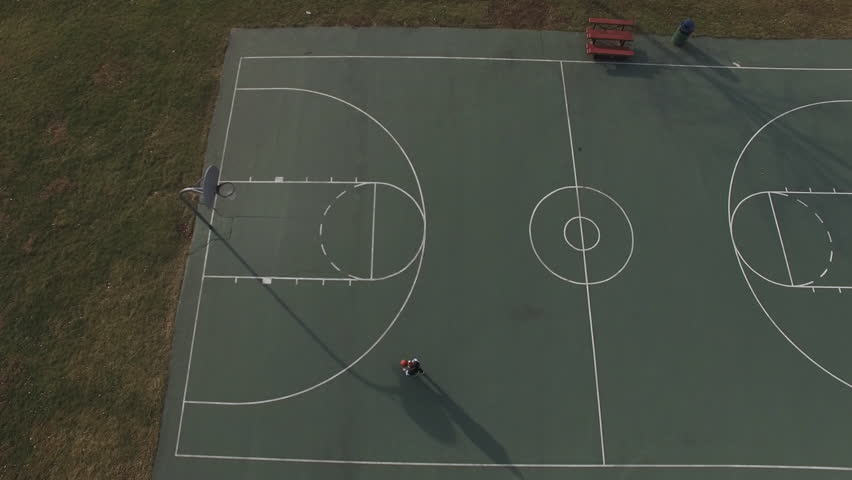 Basketball Court In Small Town Aerial Drone View Stock