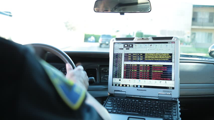 Anaheim, CA., January 2016: POV of Police Car Laptop as Officer Drives his Patrol Car