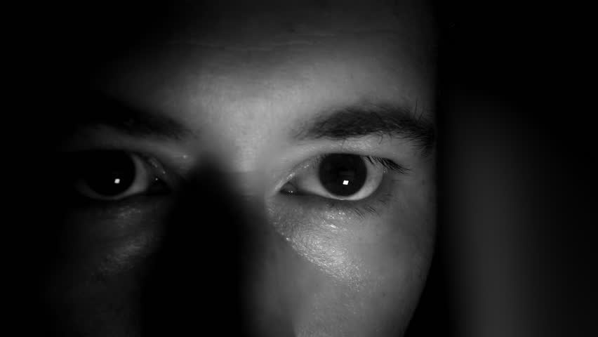 Scared Eyes In The Dark, B&W. Man hidden in the dark with light in the eyes, Black And White - 1080p