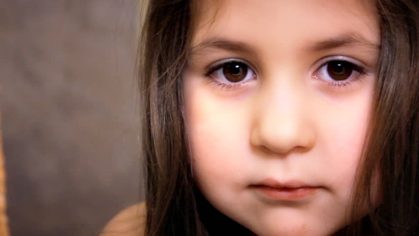 Little Girl Face Close Up Stock Footage Video 100 -8840