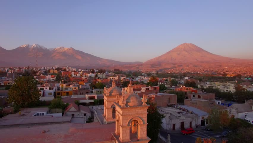 Arequipa volcano at sunset