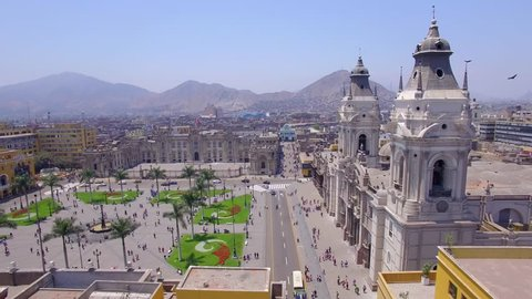 Flight over Main Square, Cathedral of Lima