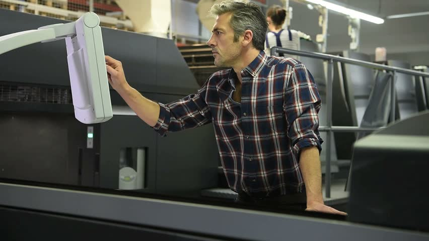 Man working in printing house