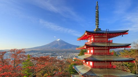 4K Timelapse of Mt. Fuji with Chureito Pagoda at sunrise in autumn, Fujiyoshida, Japan