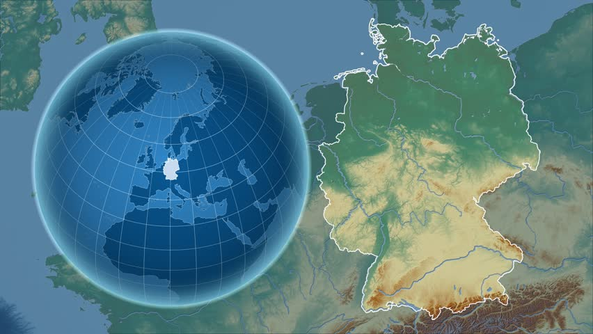 Germany Shape Animated On The Relief Map Of The Globe Stock - Germany map shape