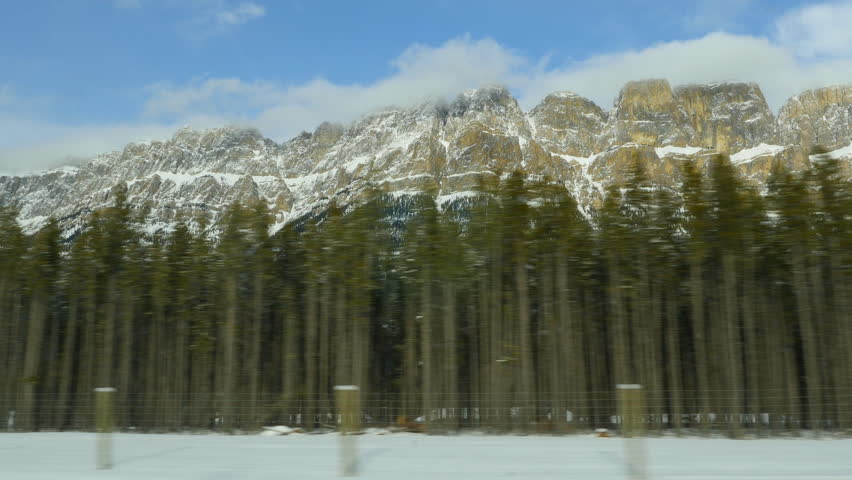 Driving past conifers with snow covered Castle Mountain in the background. Castle Mountain is located in Banff National Park in the Canadian Rockies, about half-way between Banff and Lake Louise.
