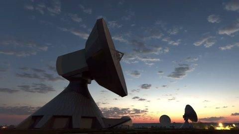 4K Time lapse zoom out Parabolic satellite dish sunrise at the earth radio station in Raisting