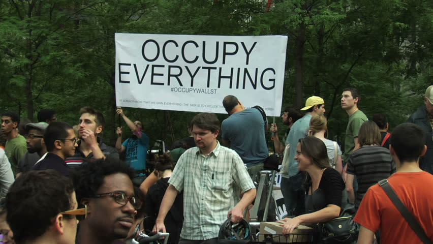 NEW YORK - SEPT 30: Protesters congregate in Zuccotti Park in Lower Manhattan on Day 14 of Occupy Wall Street, September 30, 2011 in New York.