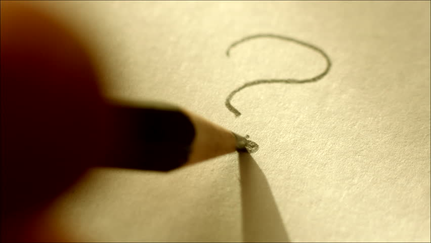 Writing Question Mark with Graphite Pencil