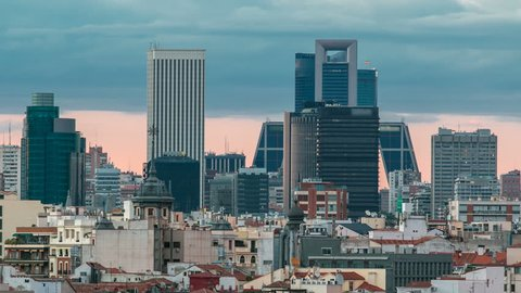 Madrid Skyline at sunset timelapse with some emblematic buildings