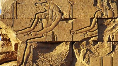 KOM OMBO, EGYPT - JANUARY 12, 2006: Crocodile-headed god Sobek at the Temple of Kom Ombo