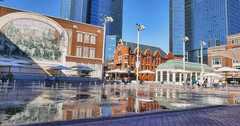 Sundance Square in Downtown Fort Worth on a sunny winter day