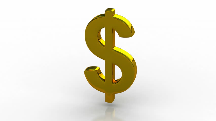 Animated Golden Dollar Money Signs 3d Rendering Stock Footage