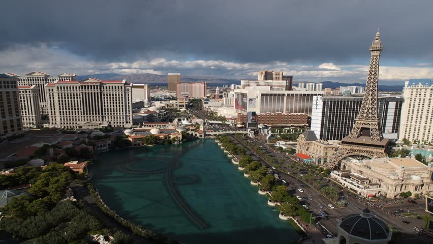 LAS VEGAS, NEVADA - OCT 6: (Time lapse view) Caesars Palace, Bellagio and Paris resorts on the strip on Oct 6, 2011 in Las Vegas, Nevada.