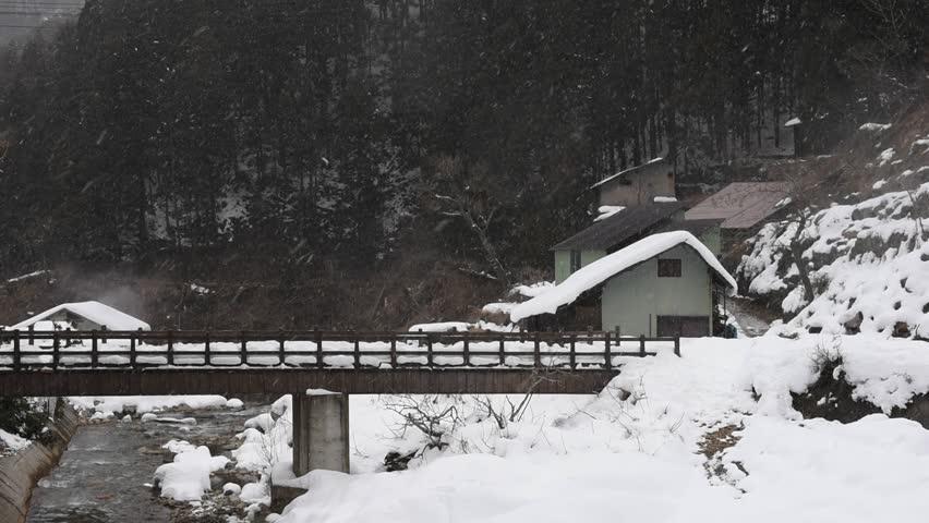 Footage, Winter landscape of the Japanese natural Village with snow falling in Jigokudani Wild Monkey Park, Yudanaka, Yamanouchi-machi, Nagano ken, Japan. | Shutterstock HD Video #14604457
