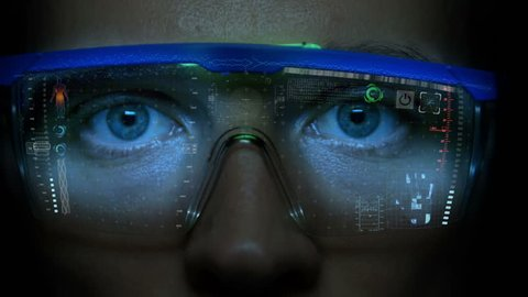 Futuristic monitor on face with code and information hologram.  Eye hud animation. Future concept